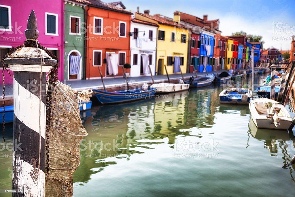 Venice:  Typical street on Burano Island stock photo