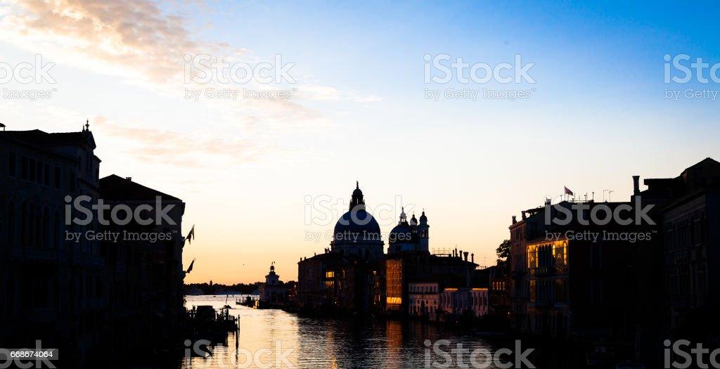 Venice view at sunrise stock photo
