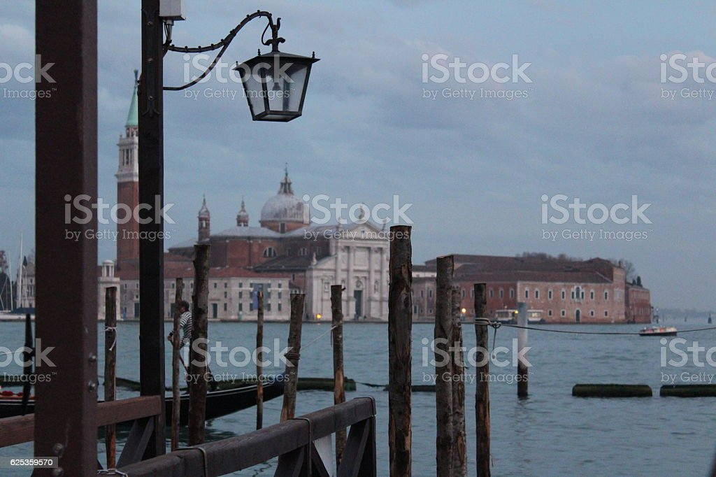 Venice view from a pontoon stock photo