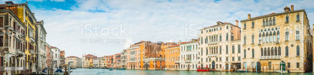Venice villas and palazzo overlooking the Grand Canal panorama Italy stock photo