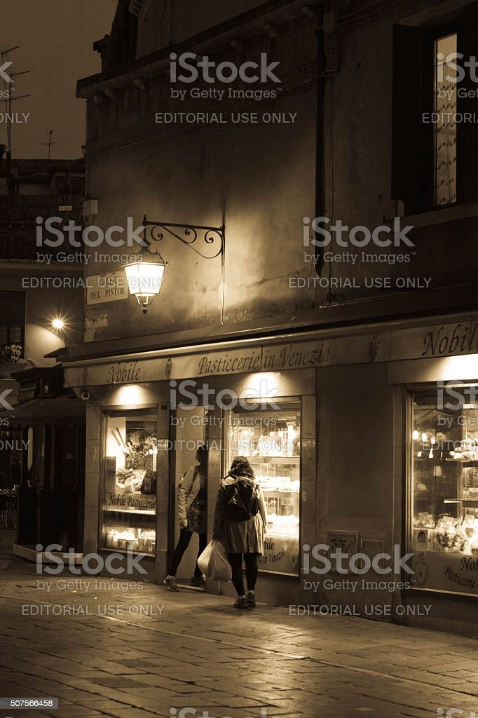 Venice walkway at night stock photo