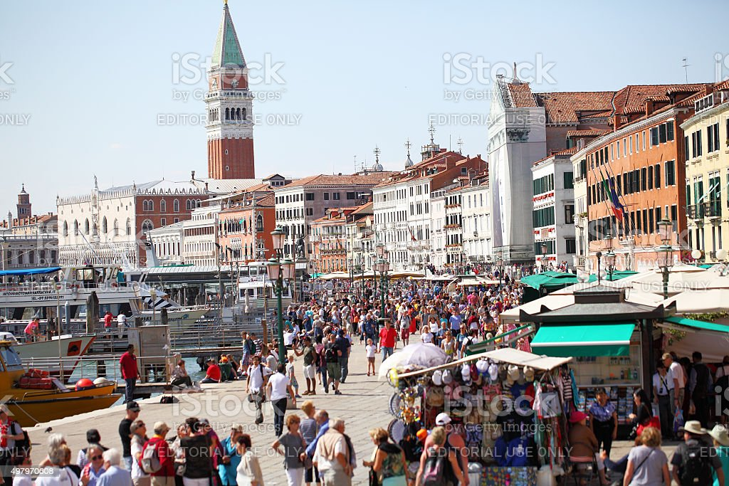 Venice waterfront and St Marks Basilica stock photo