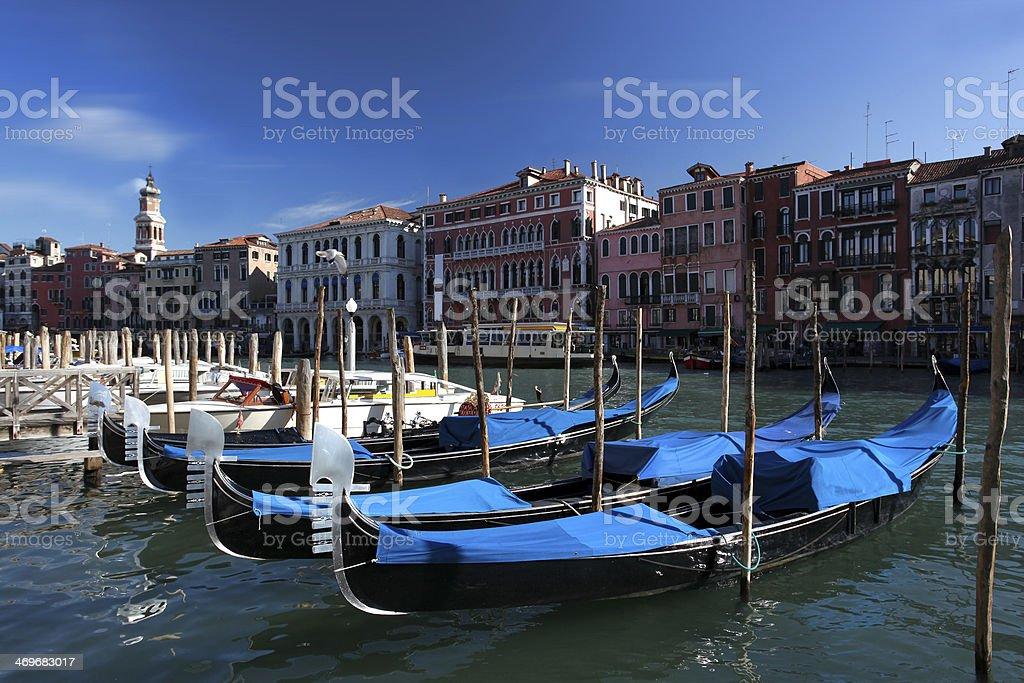 Venice with gondolas against  Rialto bridge  in Italy royalty-free stock photo