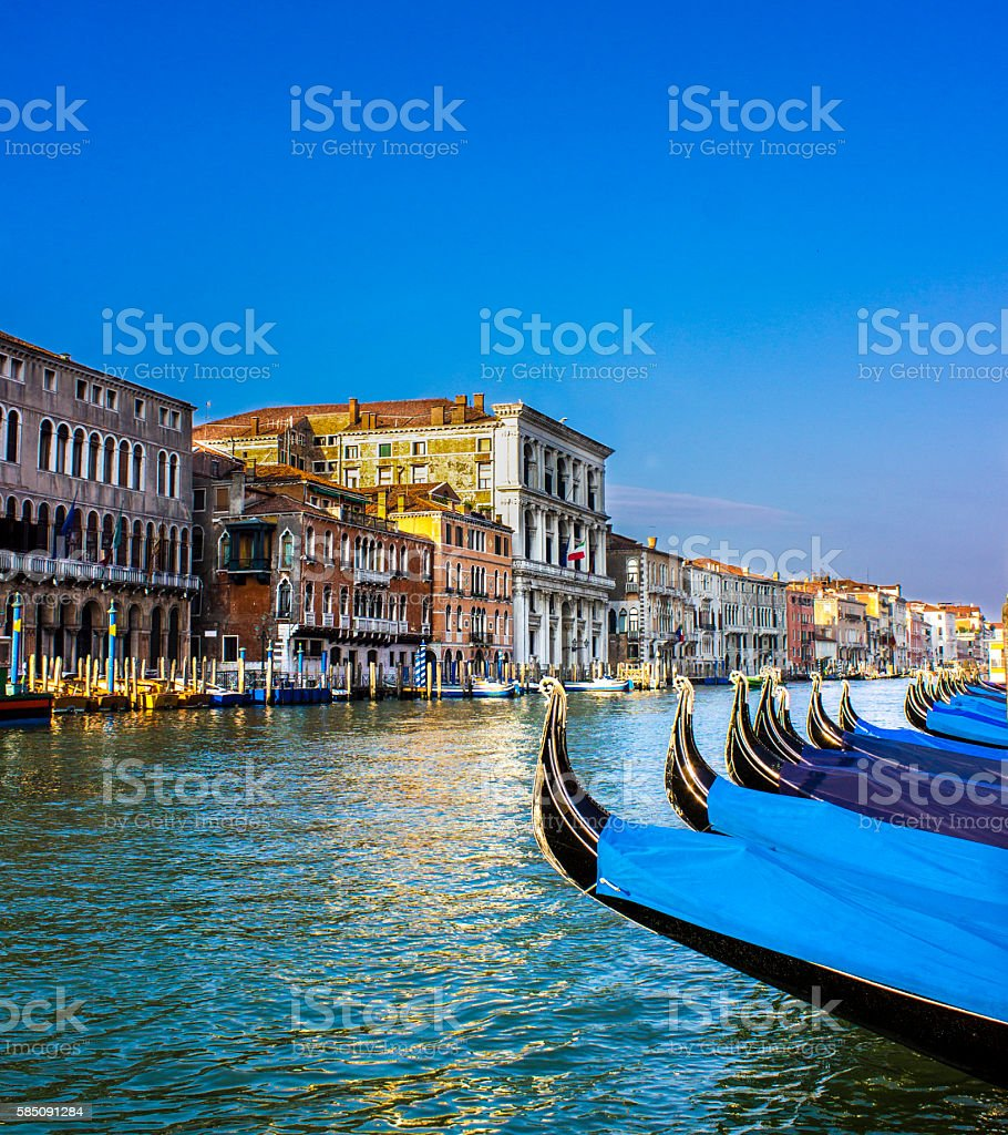 Venice with gondolas in day time stock photo
