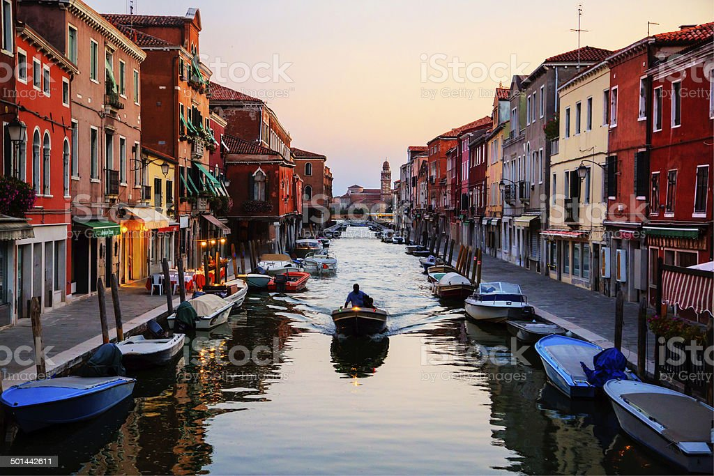 Venice,Italy.  Murano island in sunset stock photo