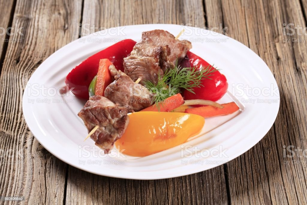 Venison skewer and vegetables stock photo