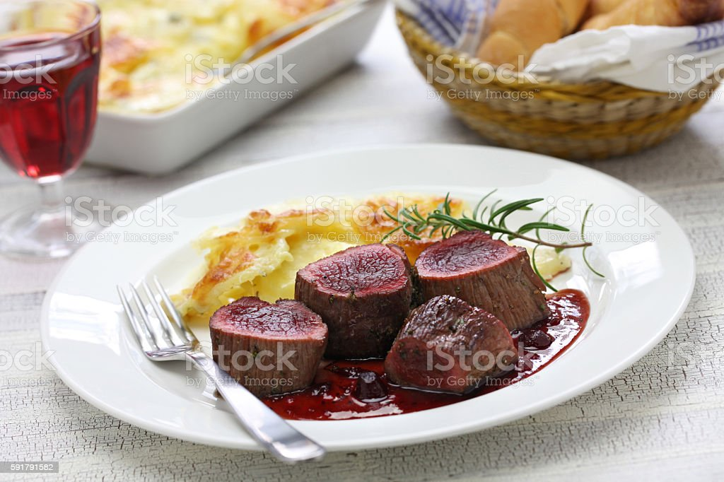 venison steak stock photo