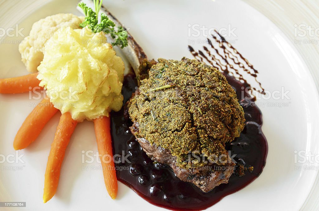 venison with whortleberry sause royalty-free stock photo
