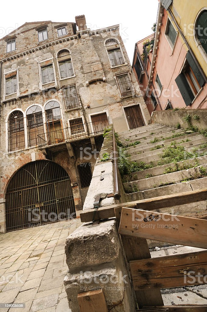 Venitian Architecture Abandoned Boarded Building Italy royalty-free stock photo