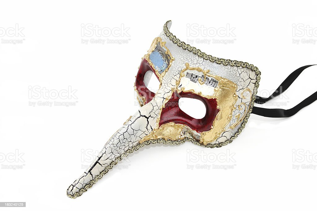 Venitian costume mask with long nose royalty-free stock photo