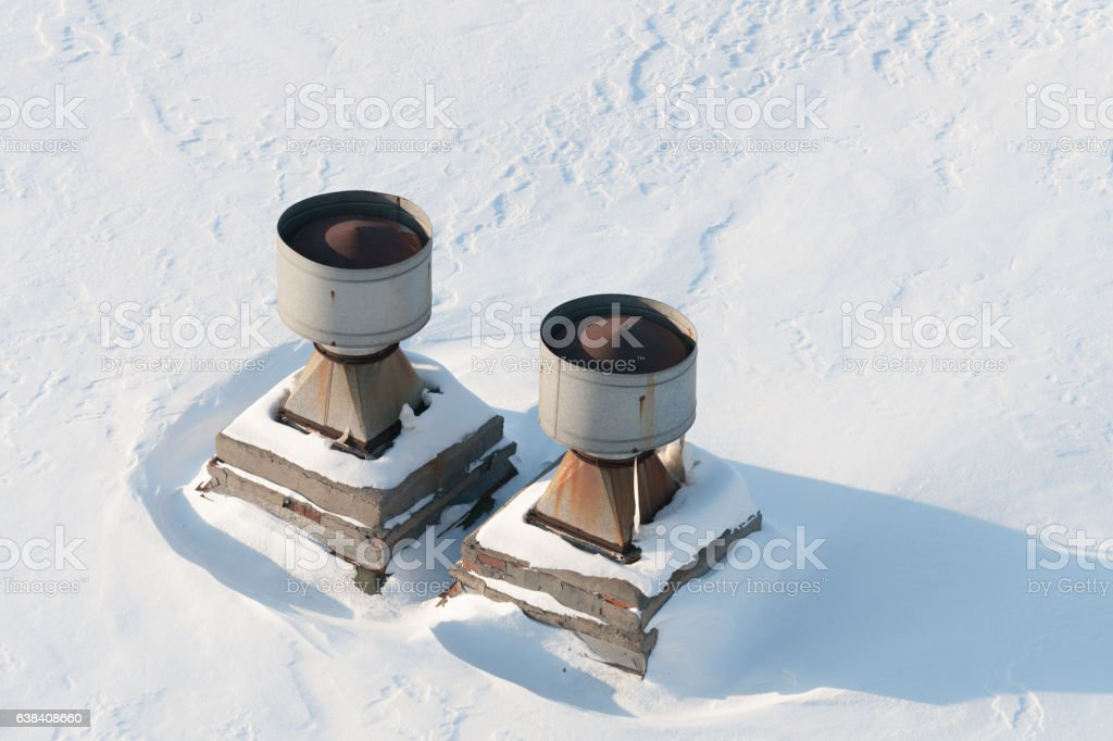 Vent pipes on the roof. stock photo