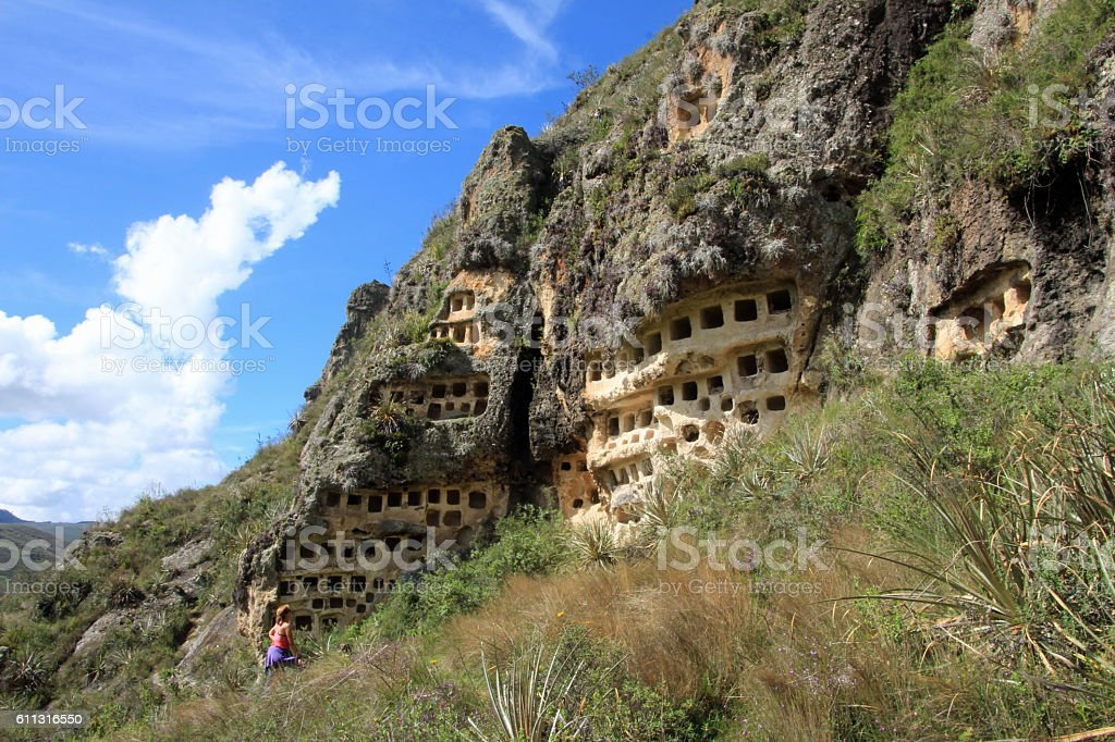 Ventanillas de Combaya, old pre inca cemetry, northern Peru stock photo