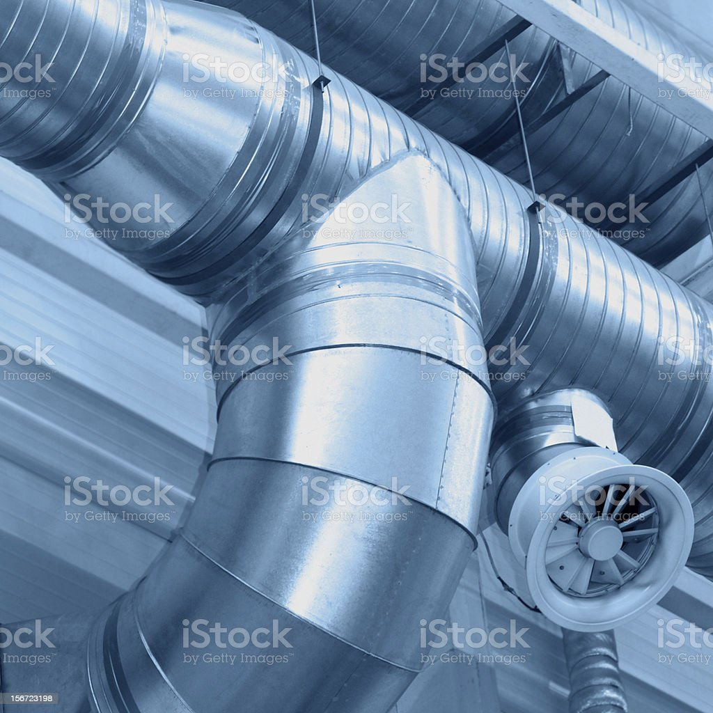 Ventilating pipes industrial system stock photo