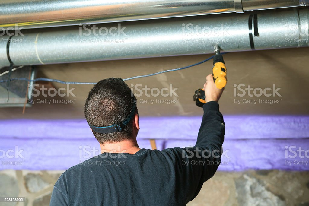 Ventilation Cleaner - Air on System Job stock photo
