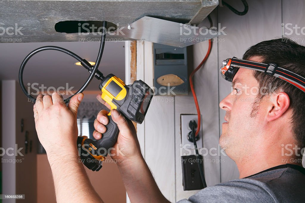 Ventilation Cleaner - at Work stock photo