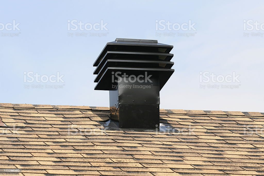 Ventilation Maximum Vents Exhaust on House Roof royalty-free stock photo