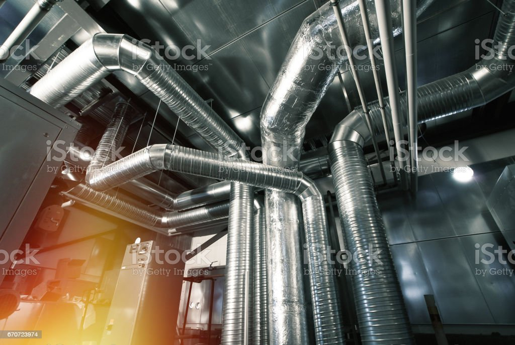 Ventilation pipes of an air condition stock photo