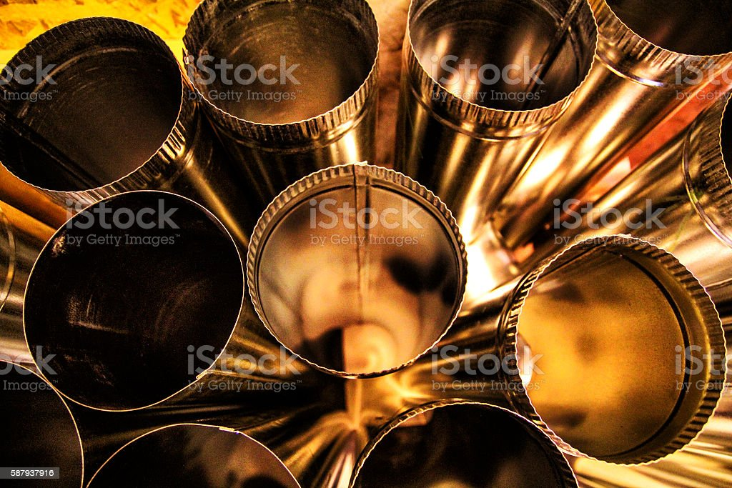 Ventilation pipes stock photo