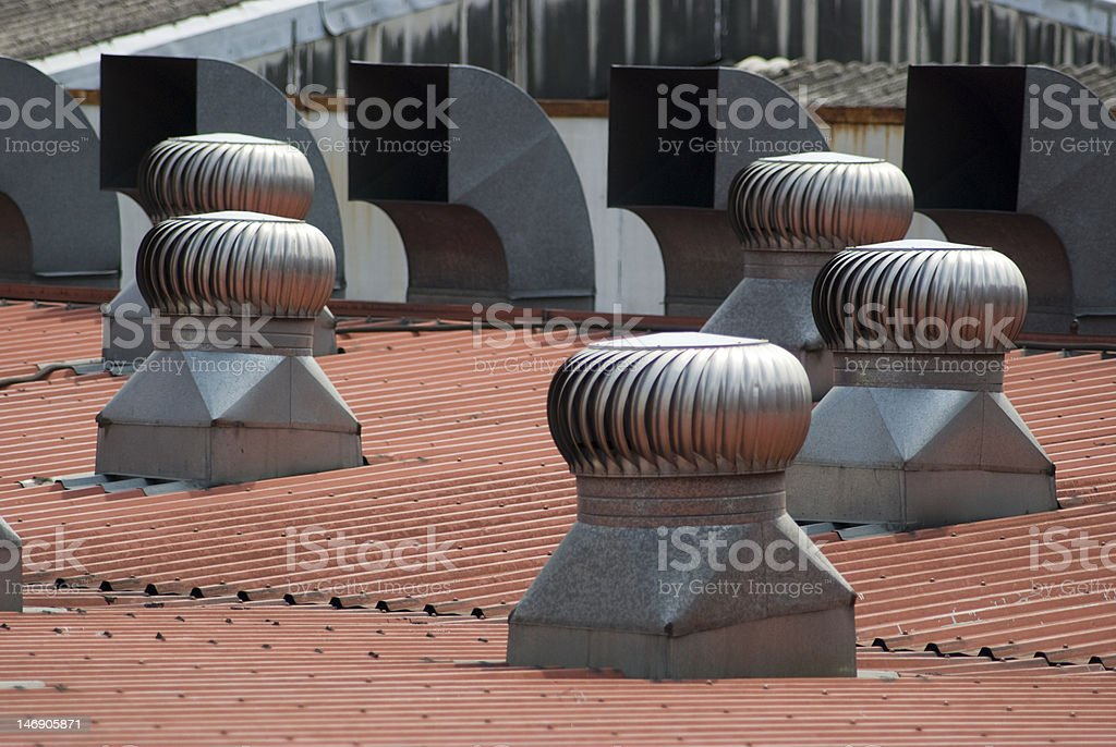 Ventilators on a roof royalty-free stock photo