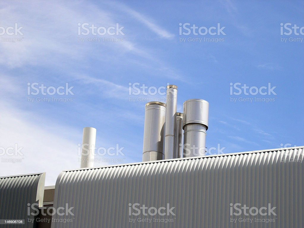 HVAC Vents on Rooftop royalty-free stock photo