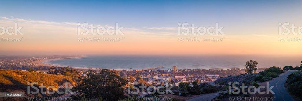 Ventura, California, Coastal Panoramic View At Sunset royalty-free stock photo