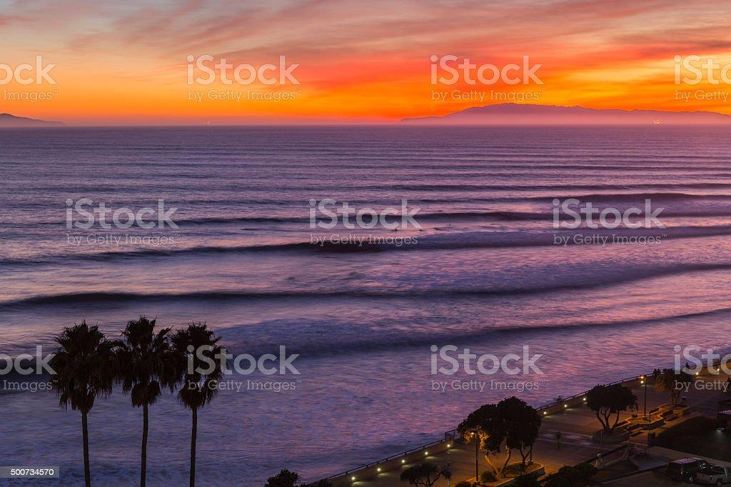 Ventura California Sunset Surf Sets stock photo