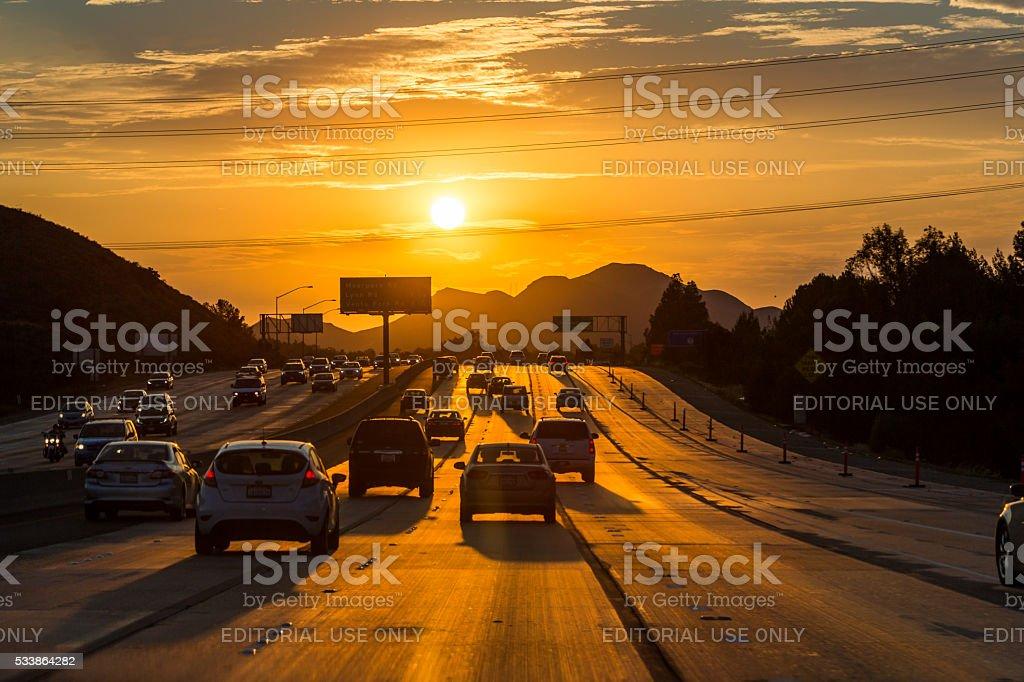 Ventura Freeway at sunset stock photo