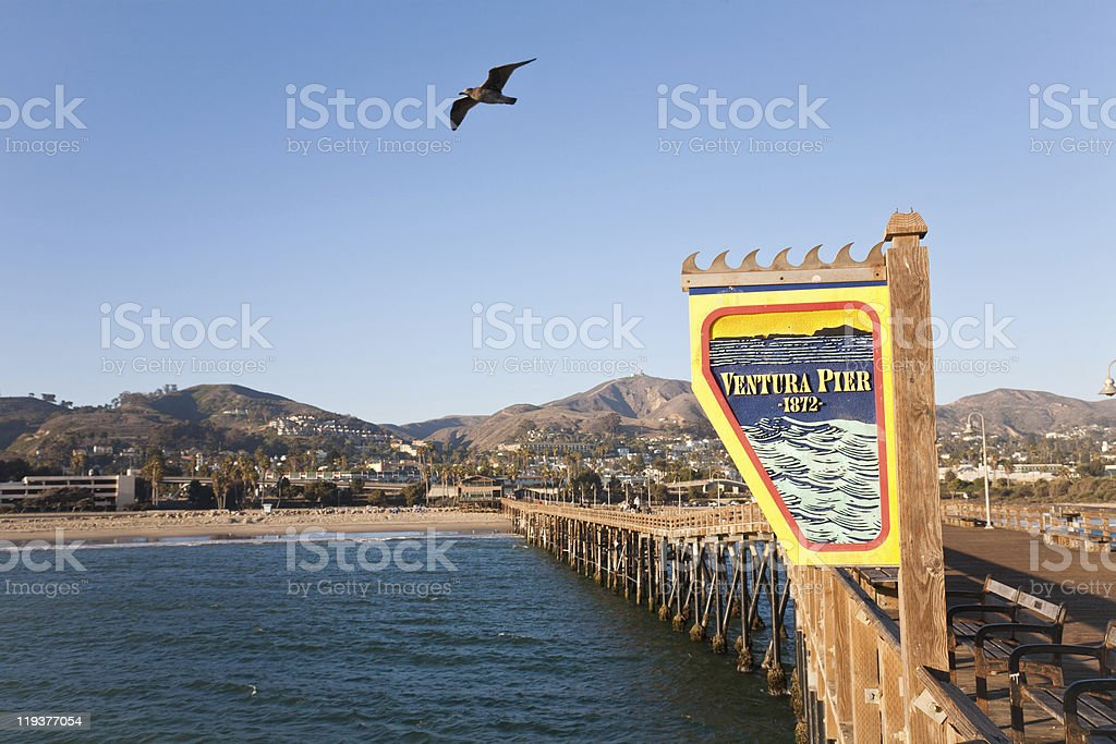 Ventura Pier as seen looking at the shore from the ocean stock photo