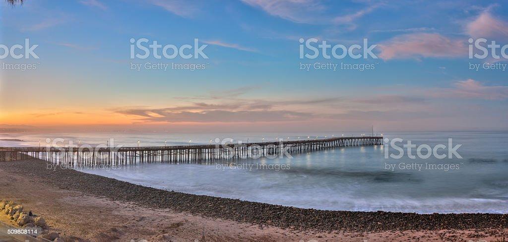 Ventura pier panorama stock photo