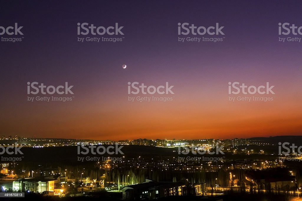 Venus and Crescent royalty-free stock photo