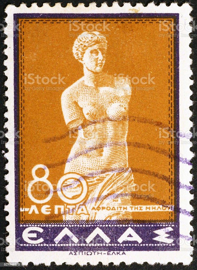 Venus of Melos on old greek postage stamp stock photo