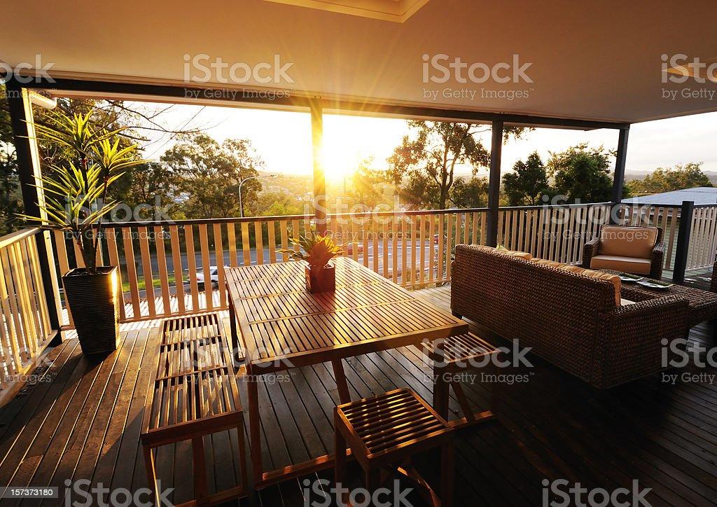 Veranda at sunset stock photo