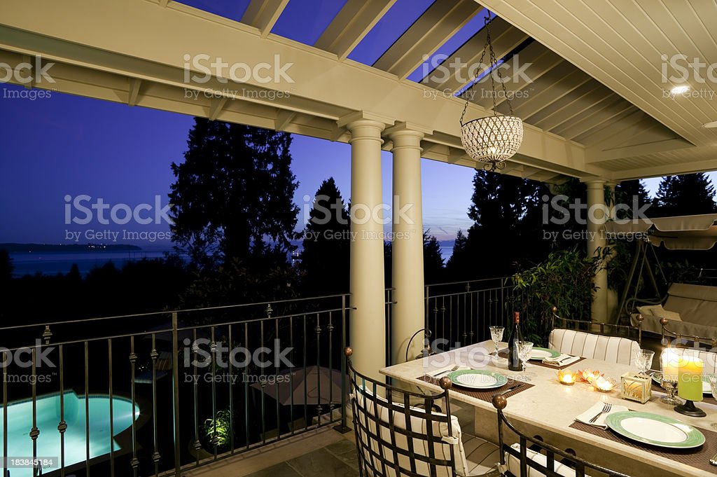 Veranda Modern House Exterior Dusk stock photo 183845184 iStock