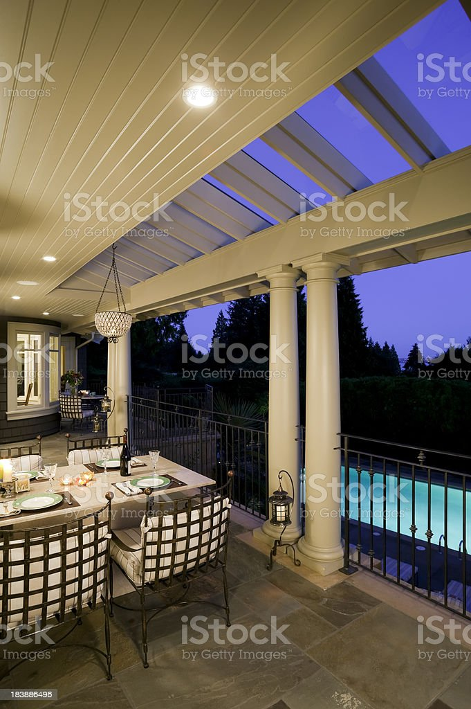 Veranda Modern House Exterior Dusk stock photo 183886496 iStock