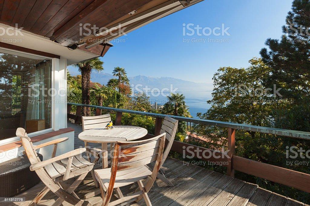 veranda of a mountain home stock photo