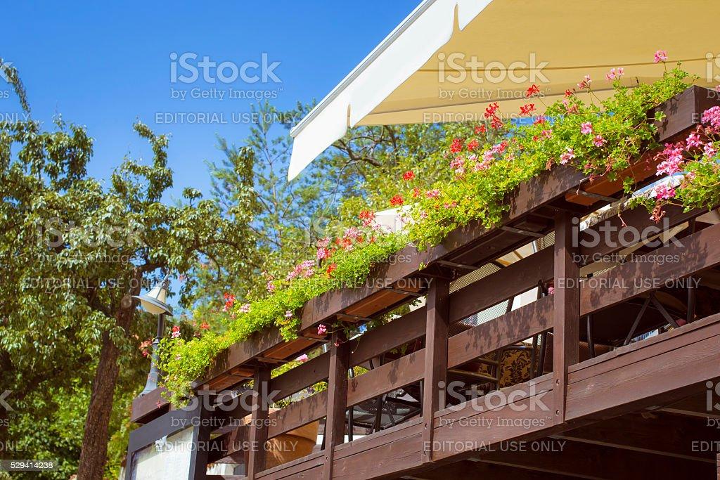 Veranda of the restaurant with flower, Prague stock photo
