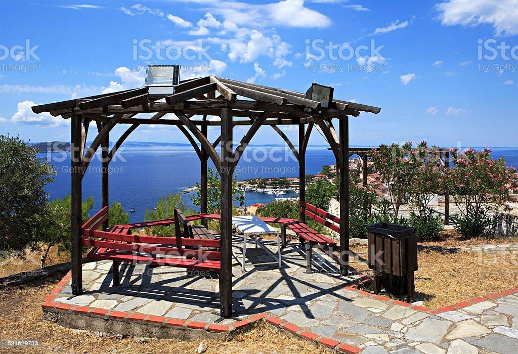 Veranda on the hill in Neos Marmaras. stock photo