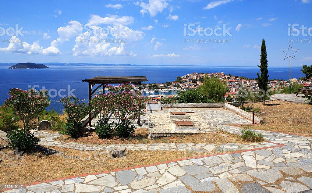 Veranda on the hill in Neos Marmaras stock photo