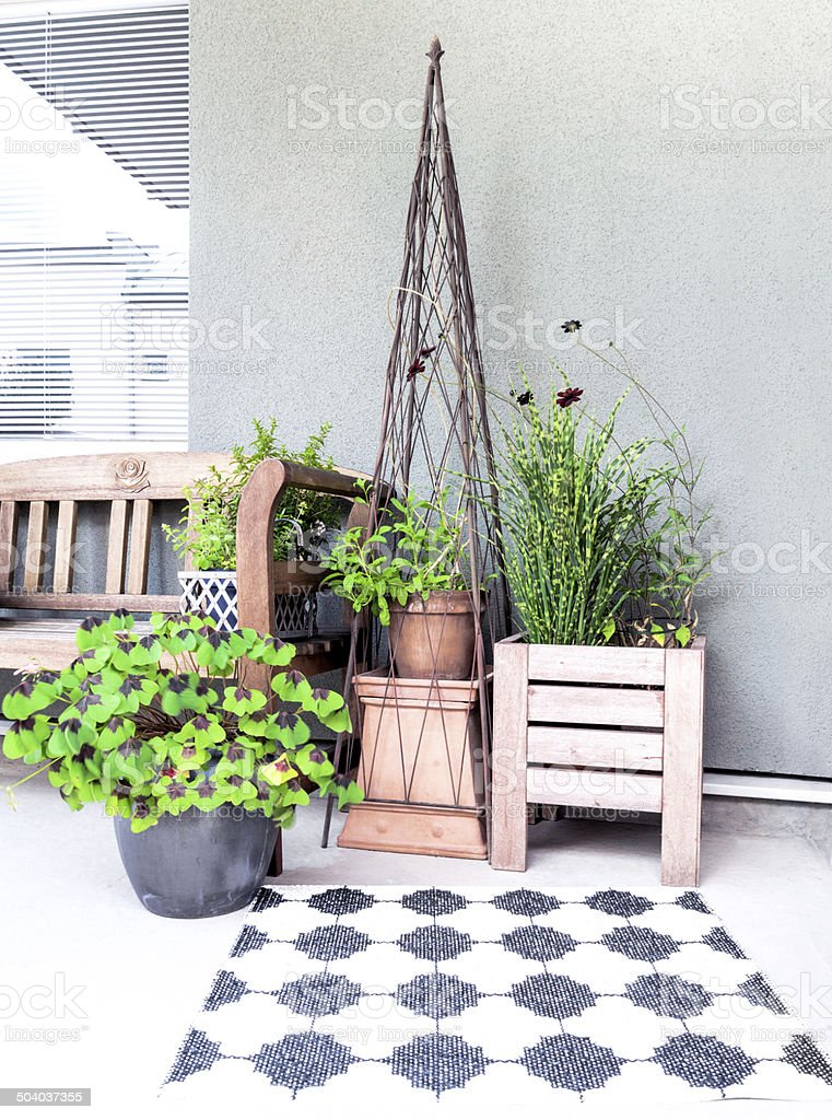 Verandah decorated with plants stock photo
