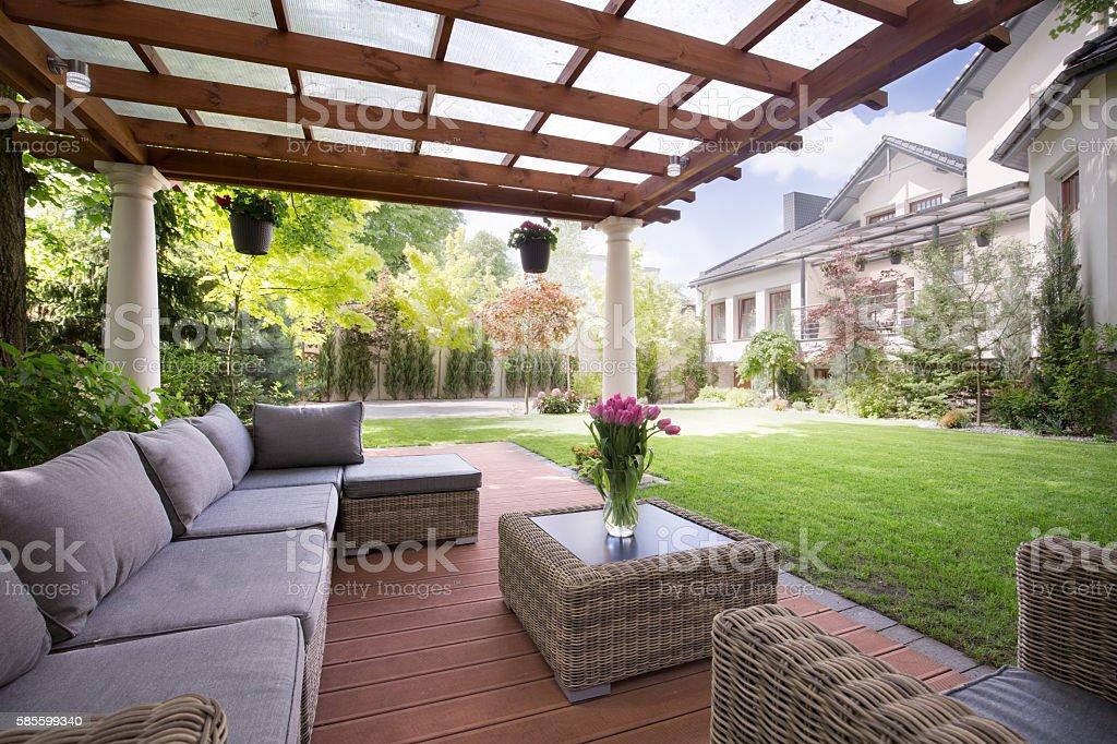 Verandah with modern garden furniture stock photo