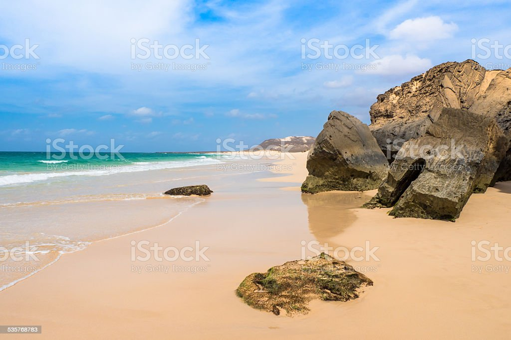 Verandinha beach Praia de Verandinha  in Boavista Cape Verde stock photo
