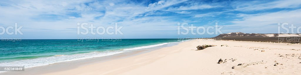 Verandinha beach Praia de Verandinha  in Boavista Cape Verde - stock photo