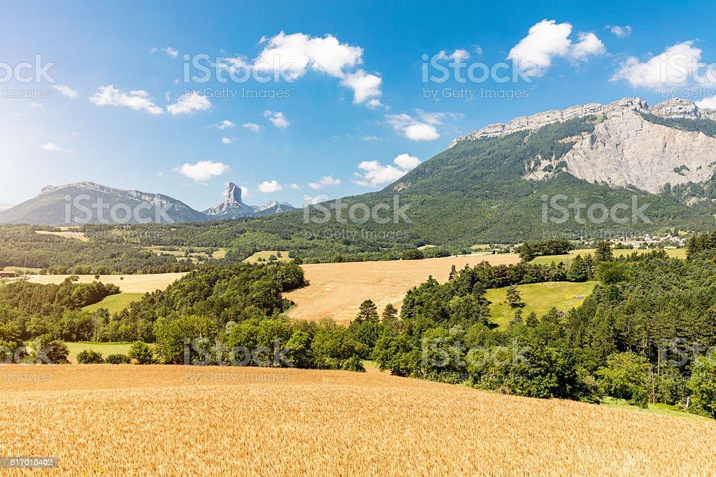 Vercors Plateau Field Mont Aiguille France Grenoble stock photo