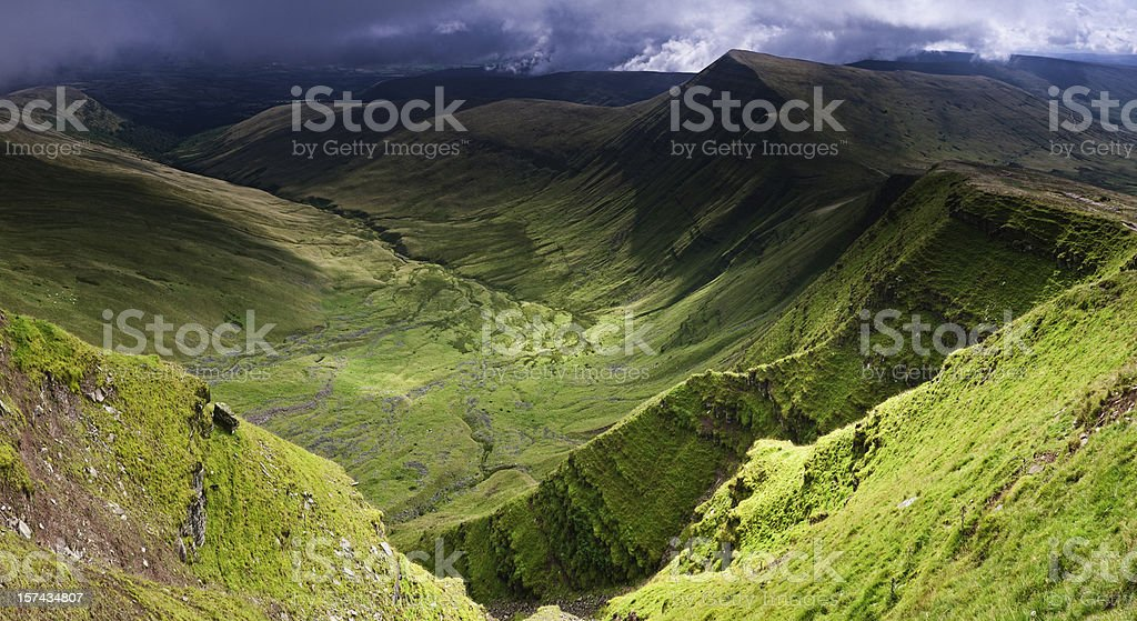 Verdant valleys dramatic escarpments Brecon Beacons Wales UK stock photo