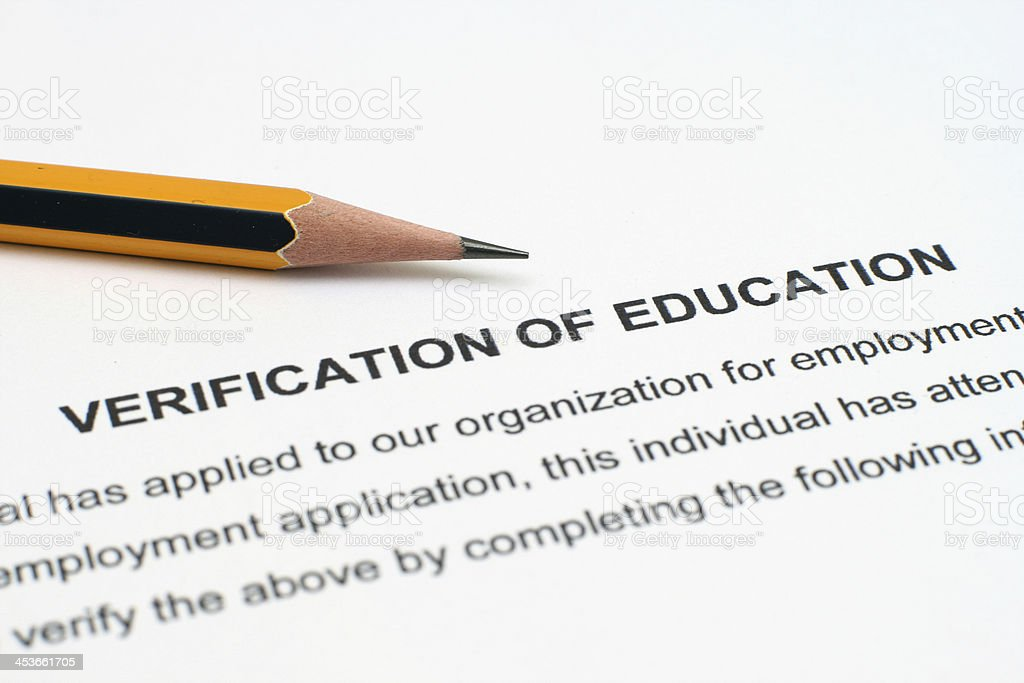 Verification of education stock photo