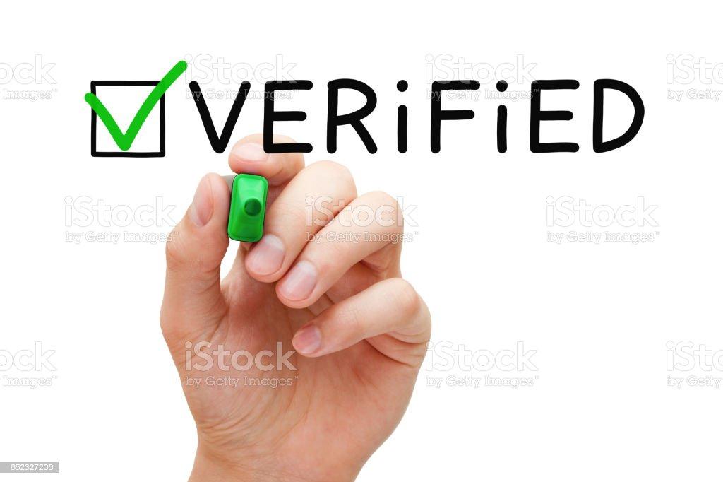 Verified Green Check Mark Concept stock photo