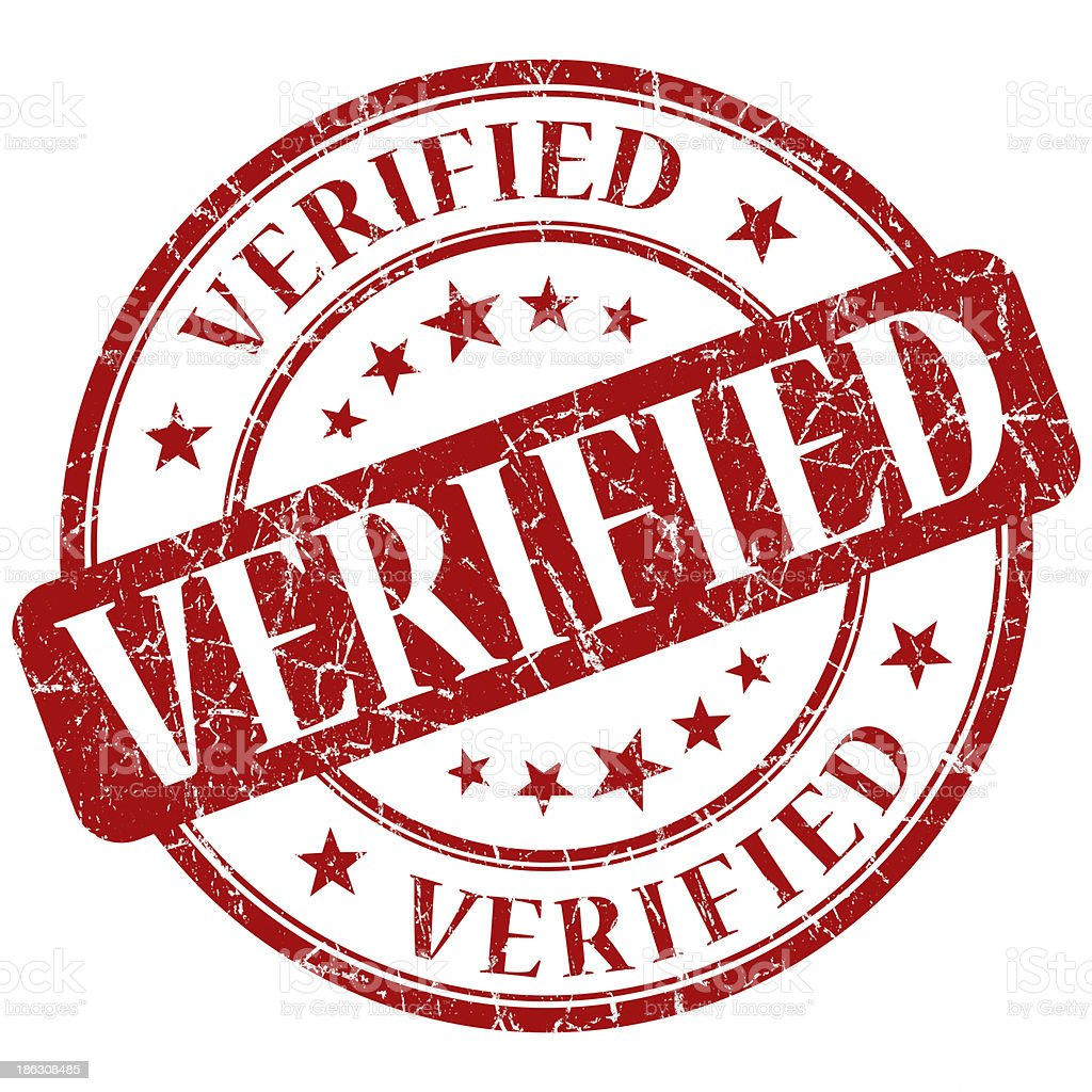 verified red round stamp royalty-free stock photo