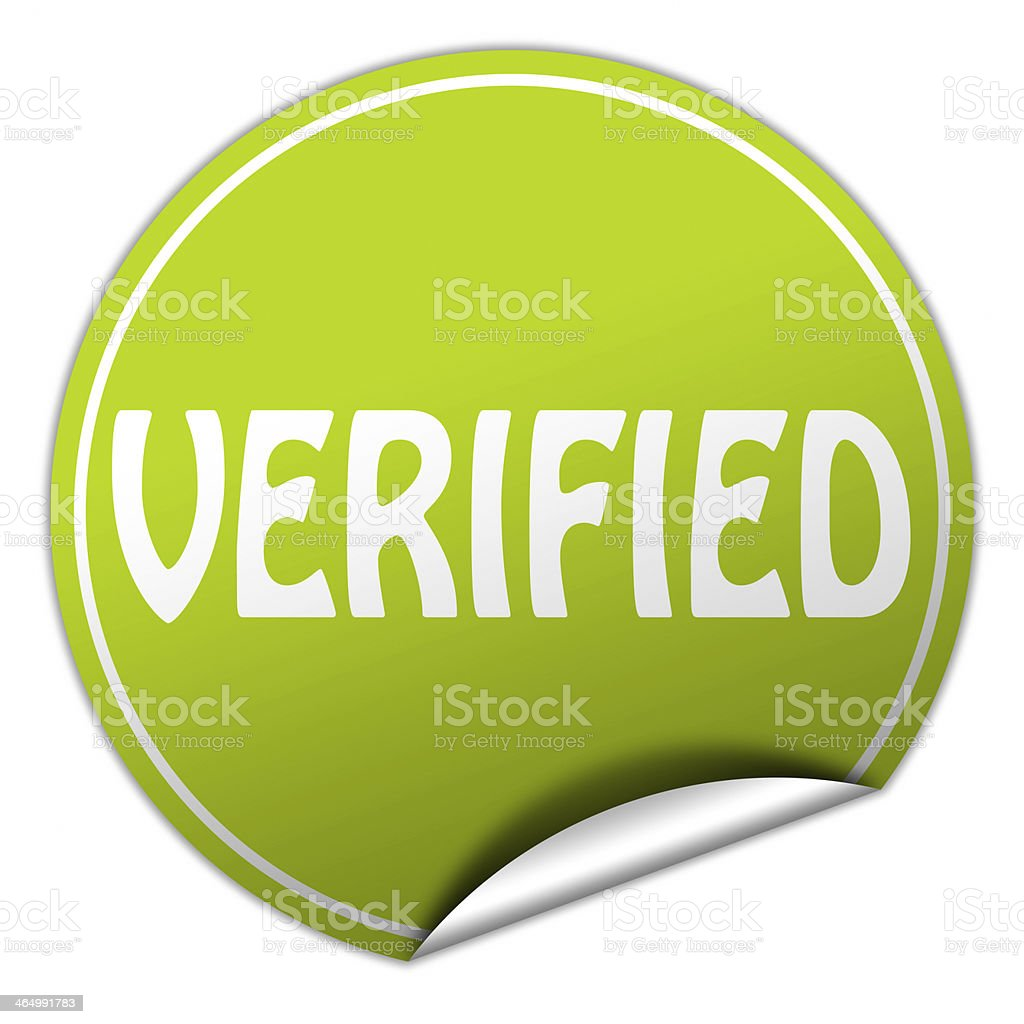 verified round green sticker on white background stock photo
