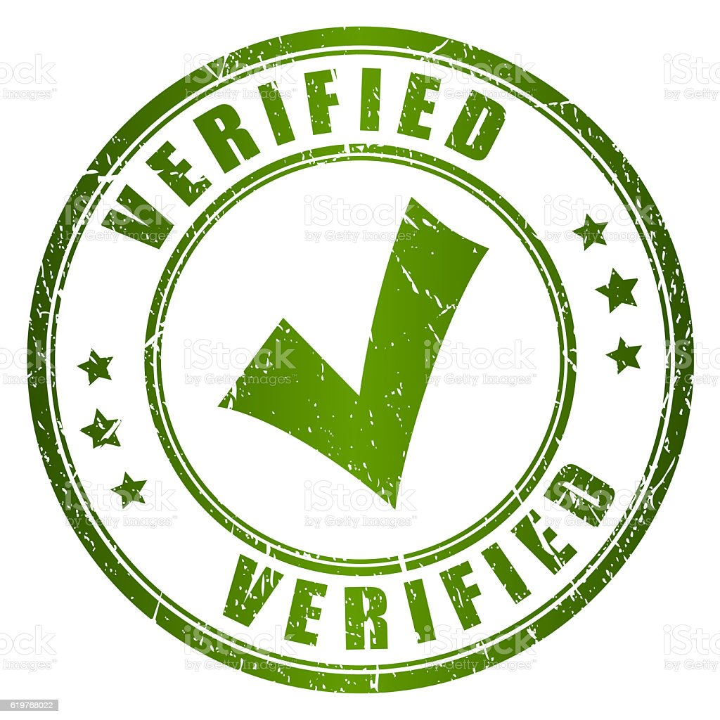 Verified rubber stamp stock photo