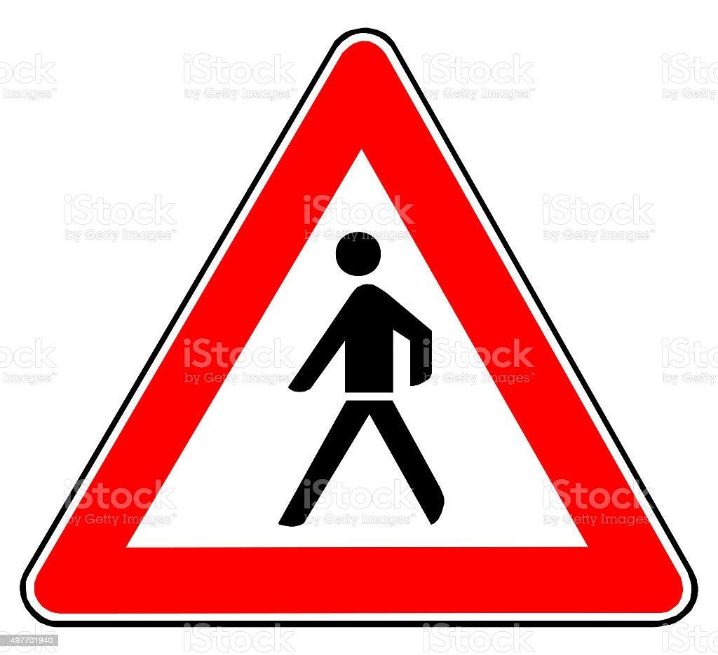 Verkehrsschild Achtung Fußgänger stock photo